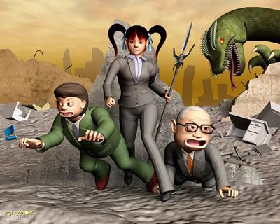 3Dキャラクターオフィスの戦士