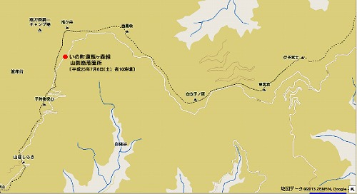 瓶ヶ森線 崩落箇所の地図