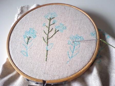 春の花を刺繍中~*