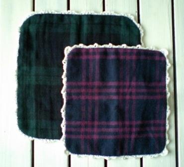 ふち編み飾りのガーゼハンカチ♪