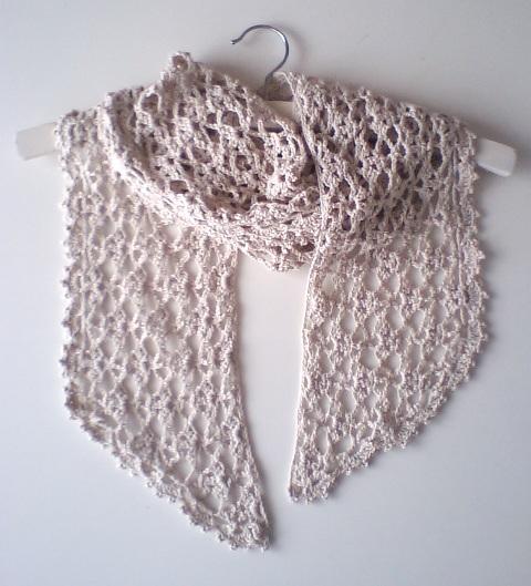 コットン透かし編みストール