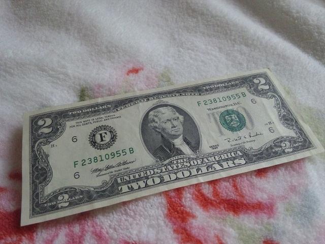 幸運の2ドル札1