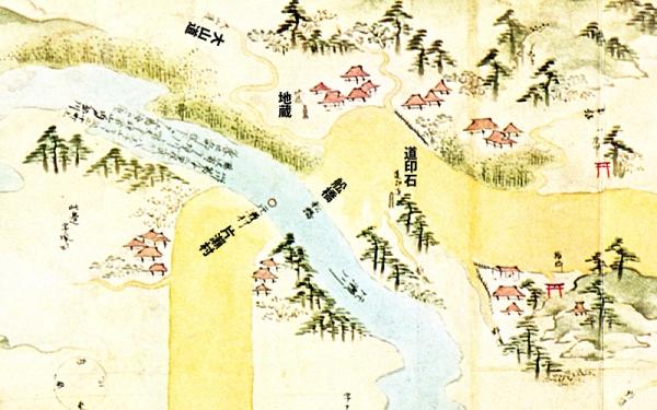 江島道見取絵図:石上の渡し付近