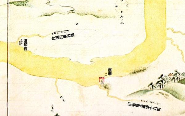 江島道見取絵図:石上の渡しから片瀬村に入った辺り