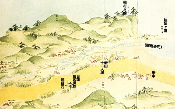 江島道見取絵図:稲村ヶ崎付近