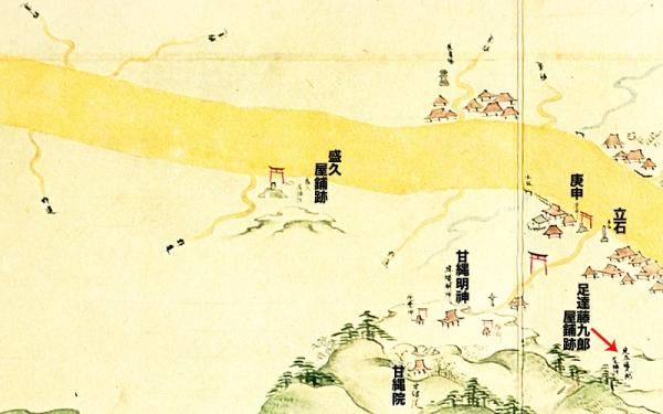 江島道見取絵図:甘縄明神付近