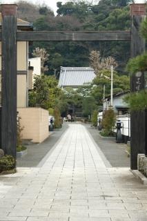 江島道:本蓮寺前の参道