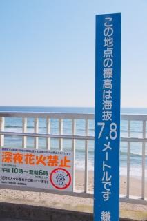江島道:「この地点の標高は海抜7.8メートルです」