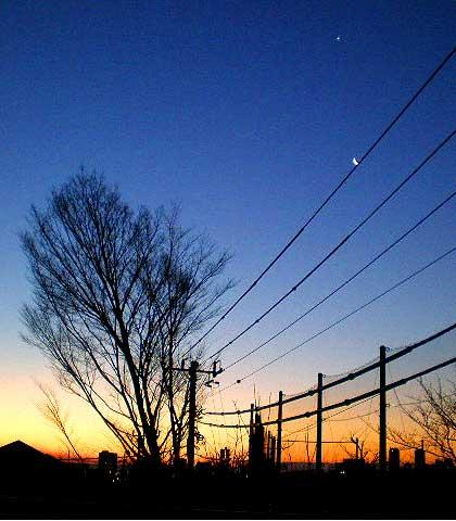 日の出前の月
