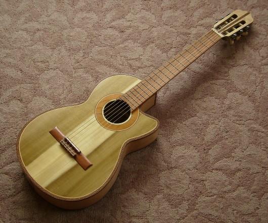 完成菊ギター第16号表 下からボディー全体はす