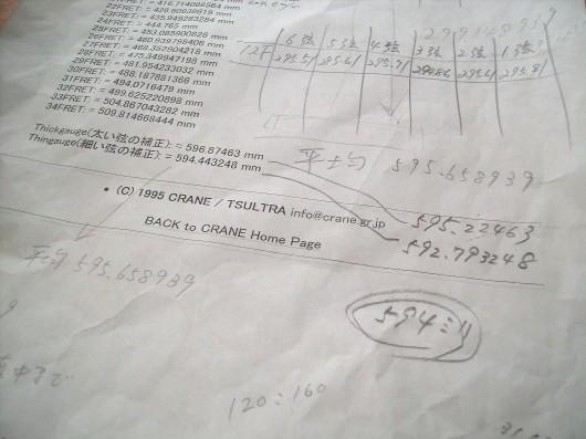 フレットスケール表2
