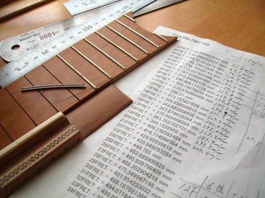 フレットスケール表と指板
