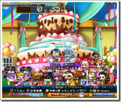 でっかいケーキで記念撮影