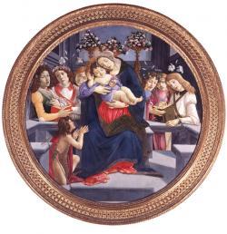 サンドロ・ボッティチェリとその弟子たち 《聖母子、洗礼者ヨハネと天使》1488-90年