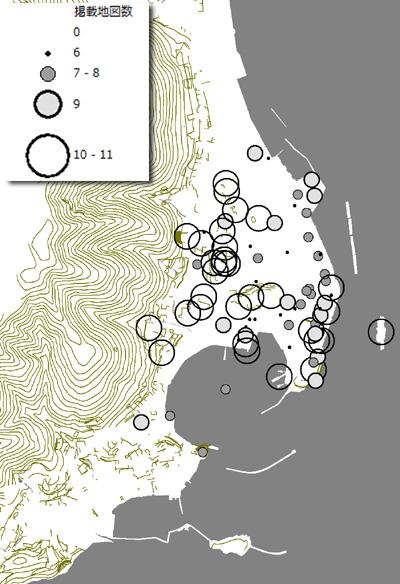 掲載頻度別の観光名所分布パターン