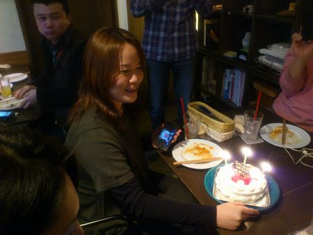 バースディケーキと堀越さん