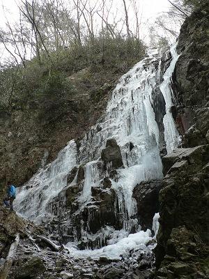 七曲滝はほぼ凍っていました。