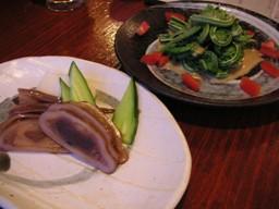 イカの沖漬とこごみのサラダ