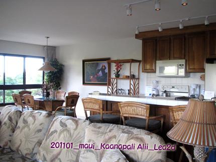 2011年1月 カアナパリアリイのリビング&キッチンそしてちょっとラナイ
