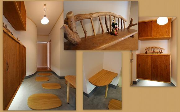 土間のある部屋《飛び石風流木板》