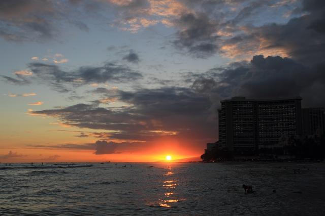 ワイキキビーチから見た夕焼け