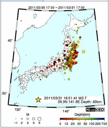 Hi-net地震発生図24時間
