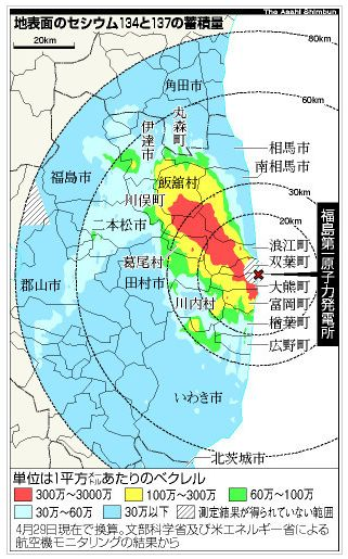福島原発地表汚染地図