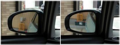 いつもの定位置に駐車したら、ちょうどミラーに充電コンセントが写りました
