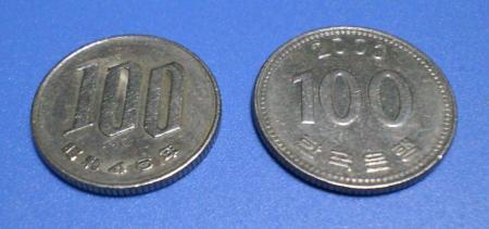 100円、100ウォン表面(24.12.22)