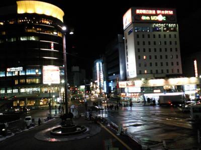 夜の長野駅前広場(24.12.29)