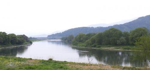 北陸新幹線橋と千曲川(25.5.19)