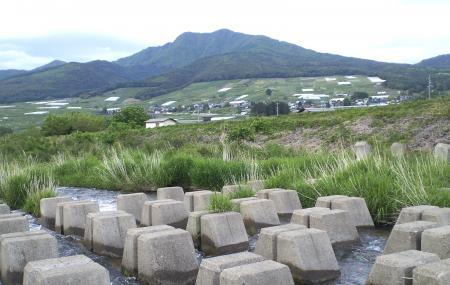 河原から見た高社山(25.5.29)