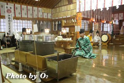 上磯八幡宮 祈年祭 鎮釜湯立式
