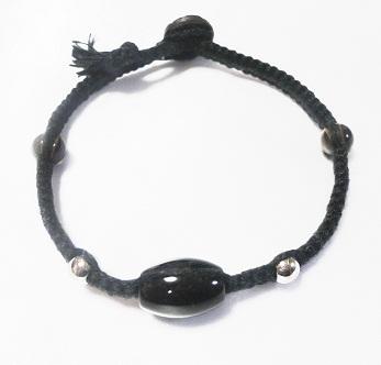 ヘンプアンクレット ブラック&オニキス (1)