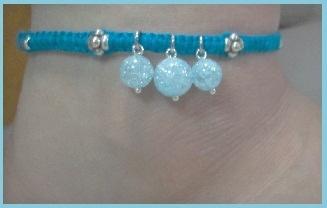 ヘンプアンクレット ブルー&クラック水晶 (5)