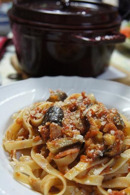 bacon and aubergine fettuchine 4