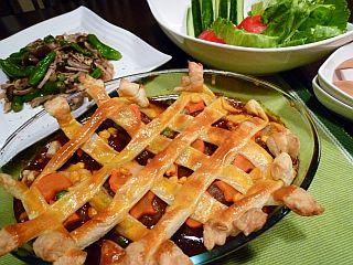 デミハンバーグとカラフル野菜のかくれんぼパイ2