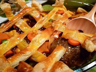 デミハンバーグとカラフル野菜のかくれんぼパイ1
