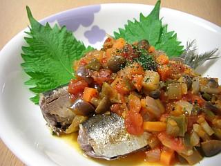 イワシのソテー~コロコロ野菜のトマトソース~