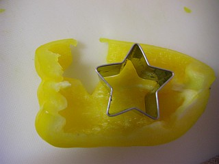 黄パプリカの型抜き1