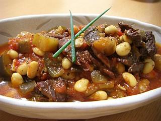 大豆とビーフジャーキーのトマト煮込み