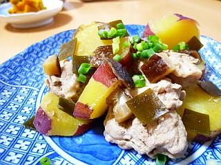 昆布と椎茸の旨みたっぷり☆豚もも肉とサツマイモの煮物
