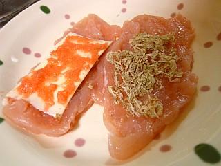 鶏ささみの昆布明太チーズ巻き2
