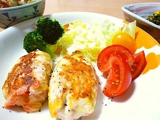 鶏ささみの昆布明太チーズ巻き1