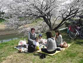 2 竜田川にて昼食