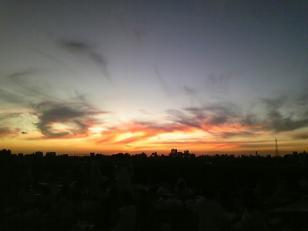 花火前の夕焼け