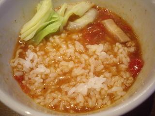 らぁ麺 汁八番 魚介トマトつけ麺(ライス投入)