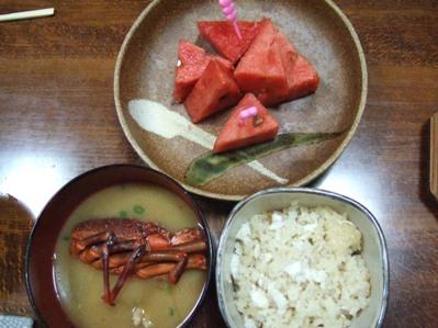 〆の鯛めしとお味噌汁とデザート