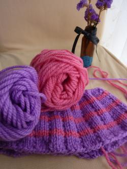 プレゼント編み編み