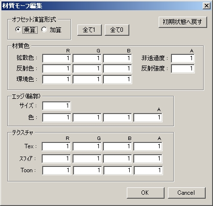 PMX材質モーフ編集